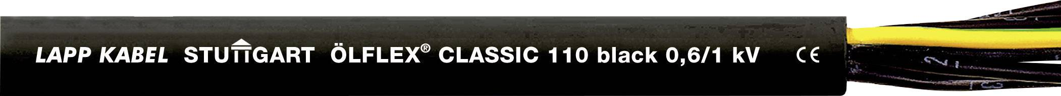 Riadiaci kábel LappKabel ÖLFLEX® CLASSIC BLACK 110 1120248, 12 G 0.75 mm², vonkajší Ø 13.40 mm, 1000 V, metrový tovar, čierna