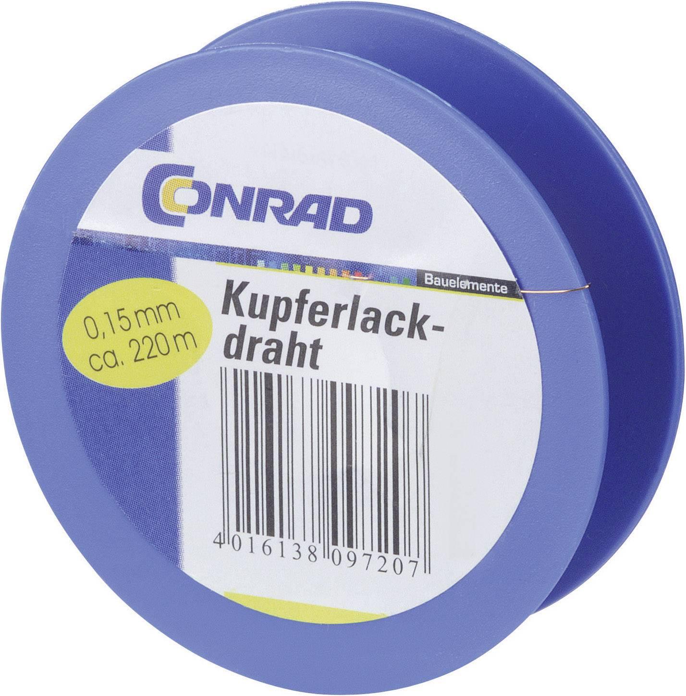 Měděný drát smaltovaný lakem Conrad Components 604975, vnější Ø 0.05 mm, 1500 m