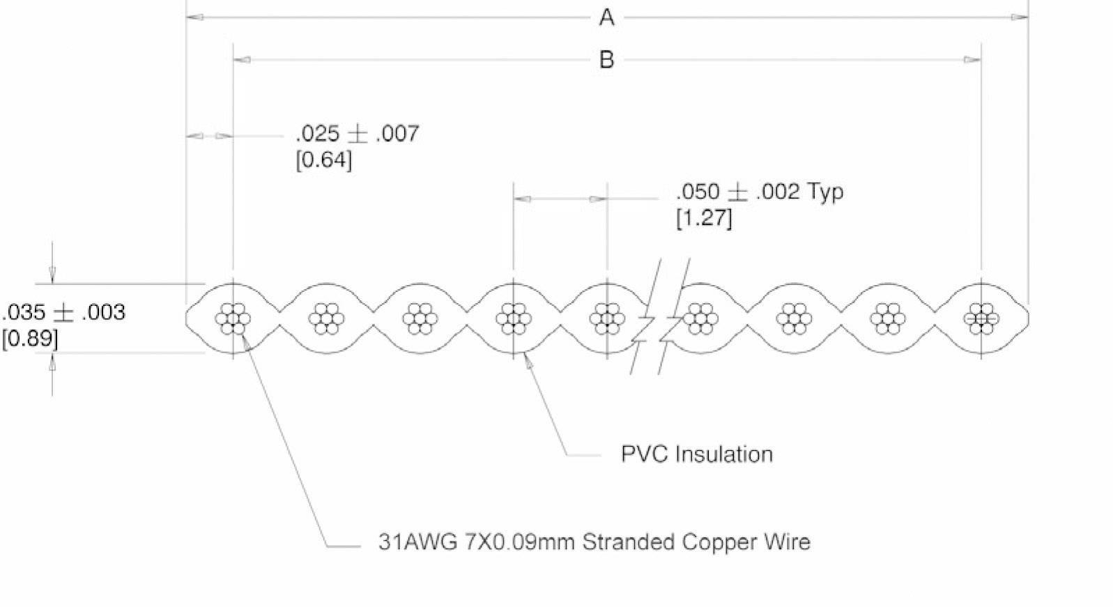 Plochý kabel Flachband cable 40P (SH1998C206), nestíněný, 30.5 m, šedá