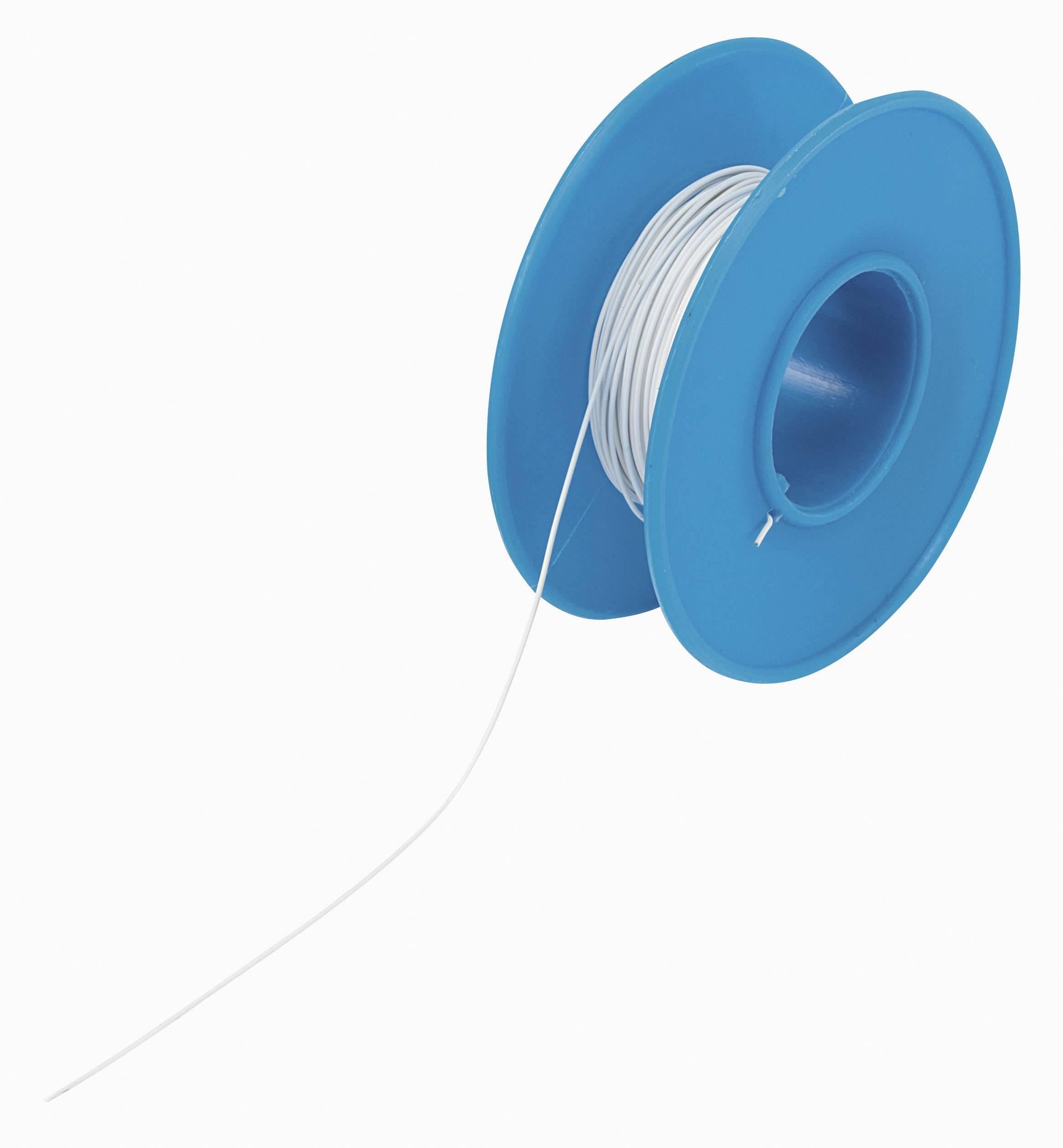 Navíjací drôt Conrad Components 606474 Wire Wrap, 1 x 0.08 mm², vonkajší Ø 0.53 mm, 15 m, biela