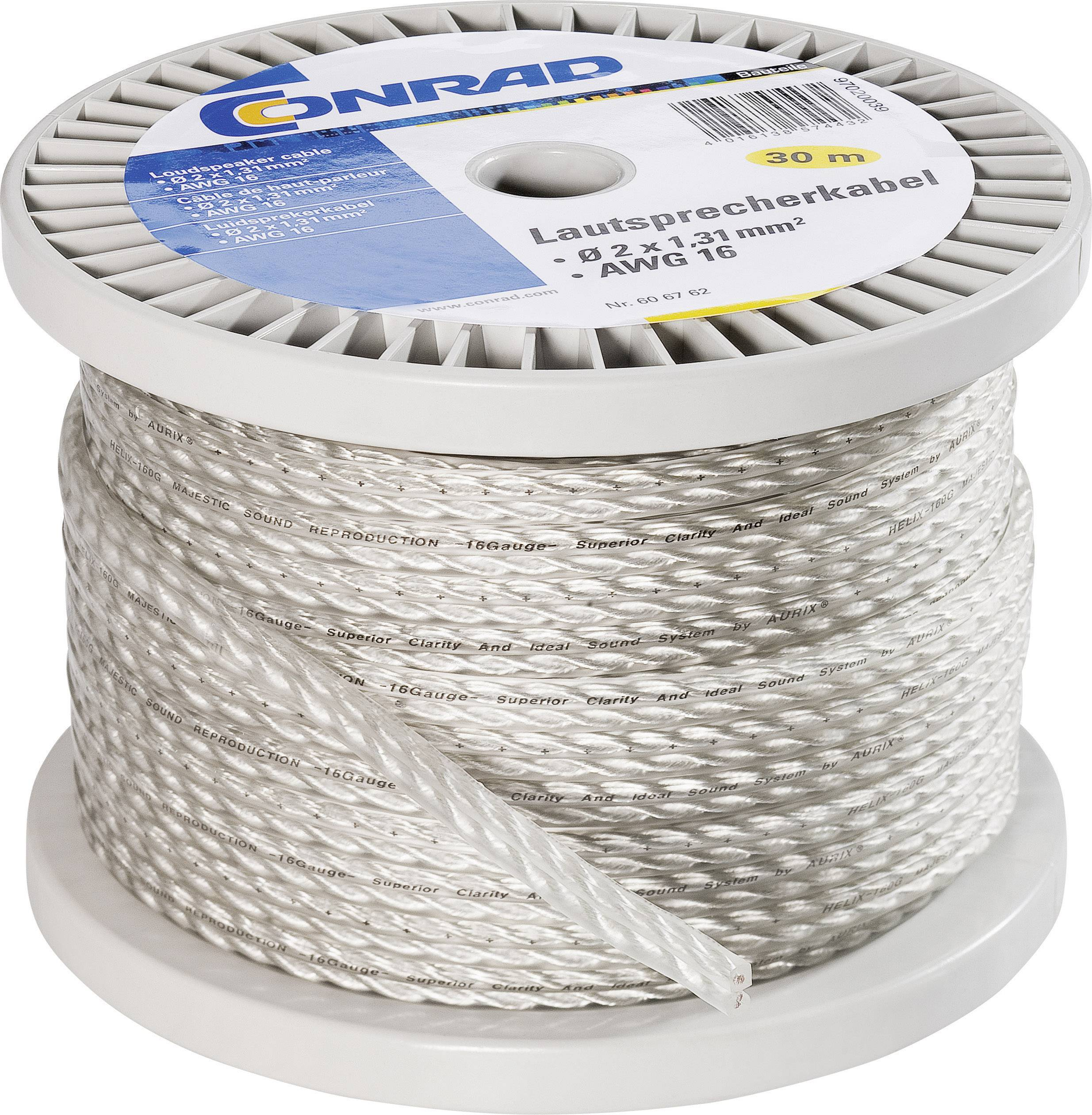 Reproduktorový kabel Conrad Components HELIX-160G, 2 x 1.31 mm², transparentní, 30 m