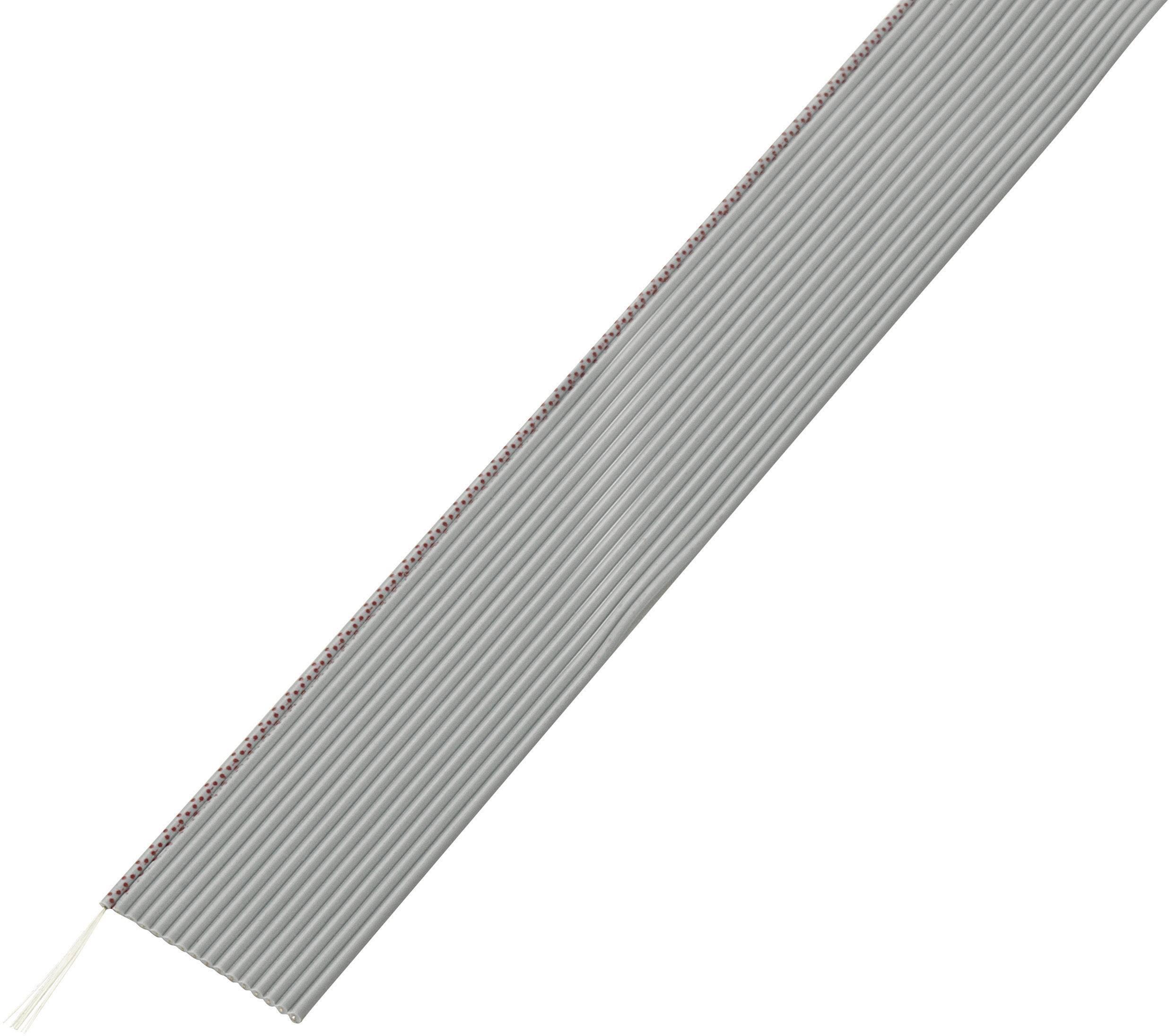 Plochý kábel Conrad Components 607560, rozteč 1.27 mm, 16 x 0.035 mm², sivá, 30.5 m