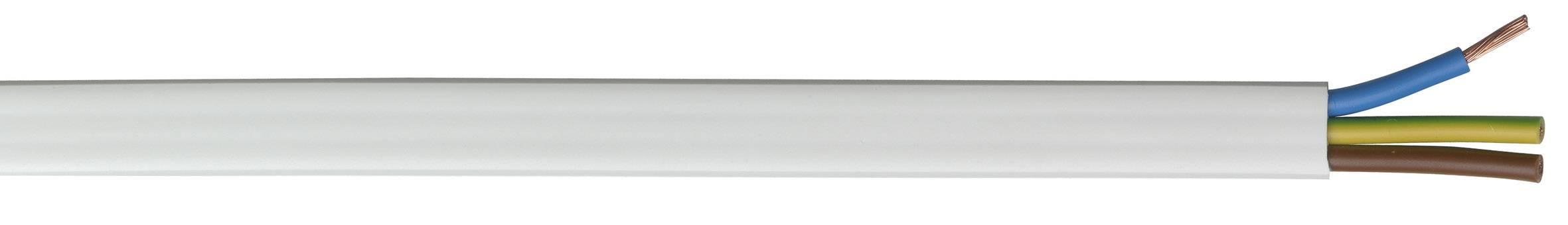 Plochý instalační kabel S05VVH2-F TRU COMPONENTS 3038642/500, 3 x 1.50 mm², bílá, metrové zboží