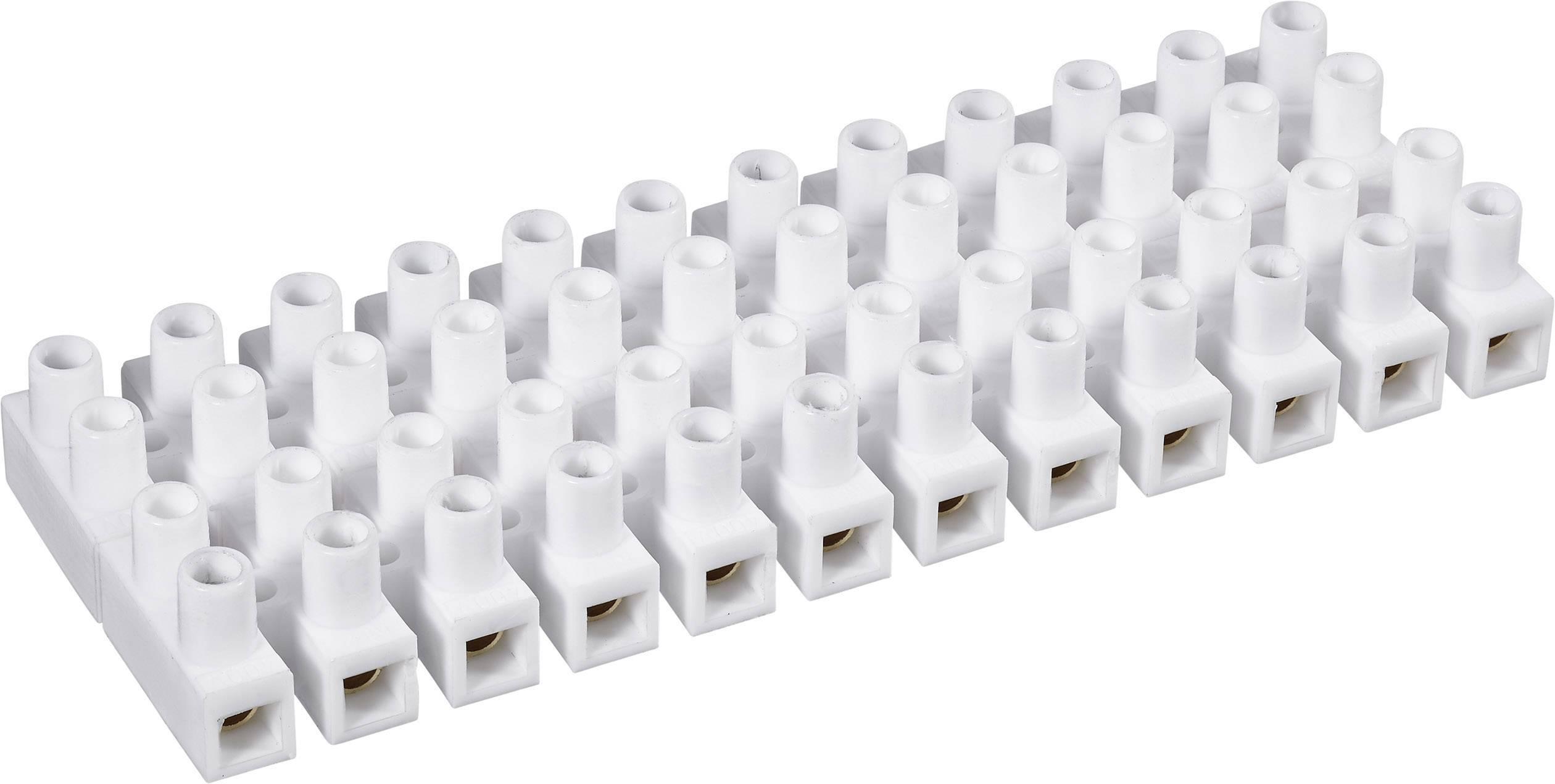 Svietidlové svorky na kábel s rozmerom 1.5-2.5 mm², pólů 12, 1 ks, biela