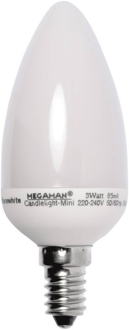 Úsporná žiarovka sviečka Megaman Candlelight Mini E14, 3 W, teplá biela