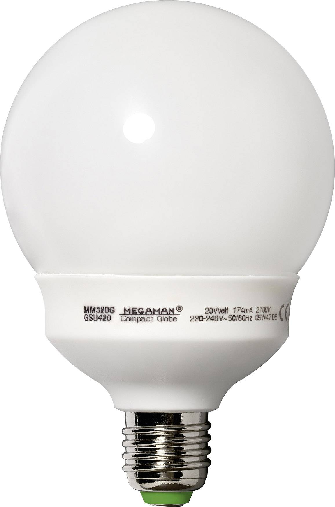 Úsporná žiarovka guľatá Megaman Compact Globe E27, 20 W, teplá biela