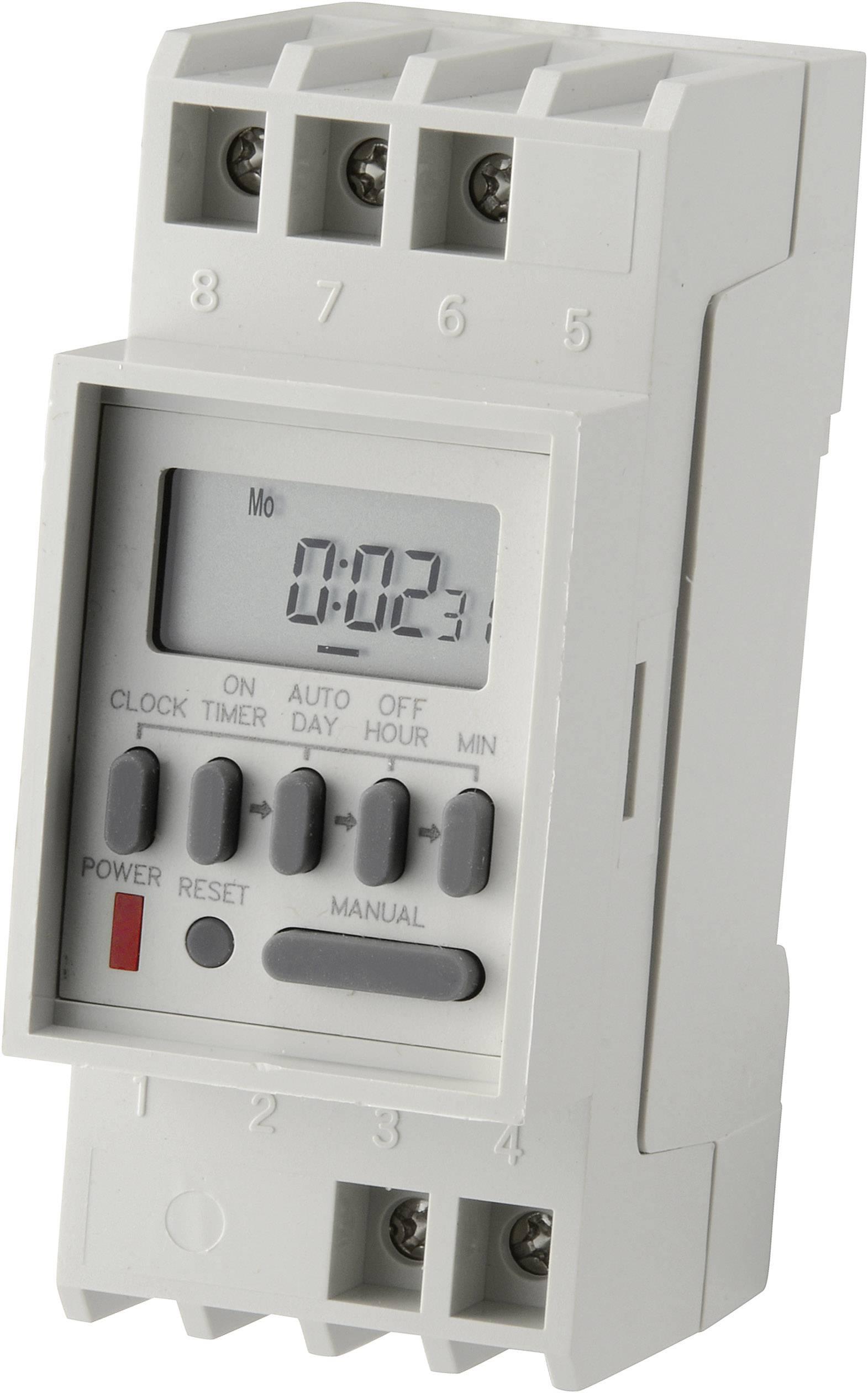 Digitálne spínacie hodiny na DIN lištu, 35 mm