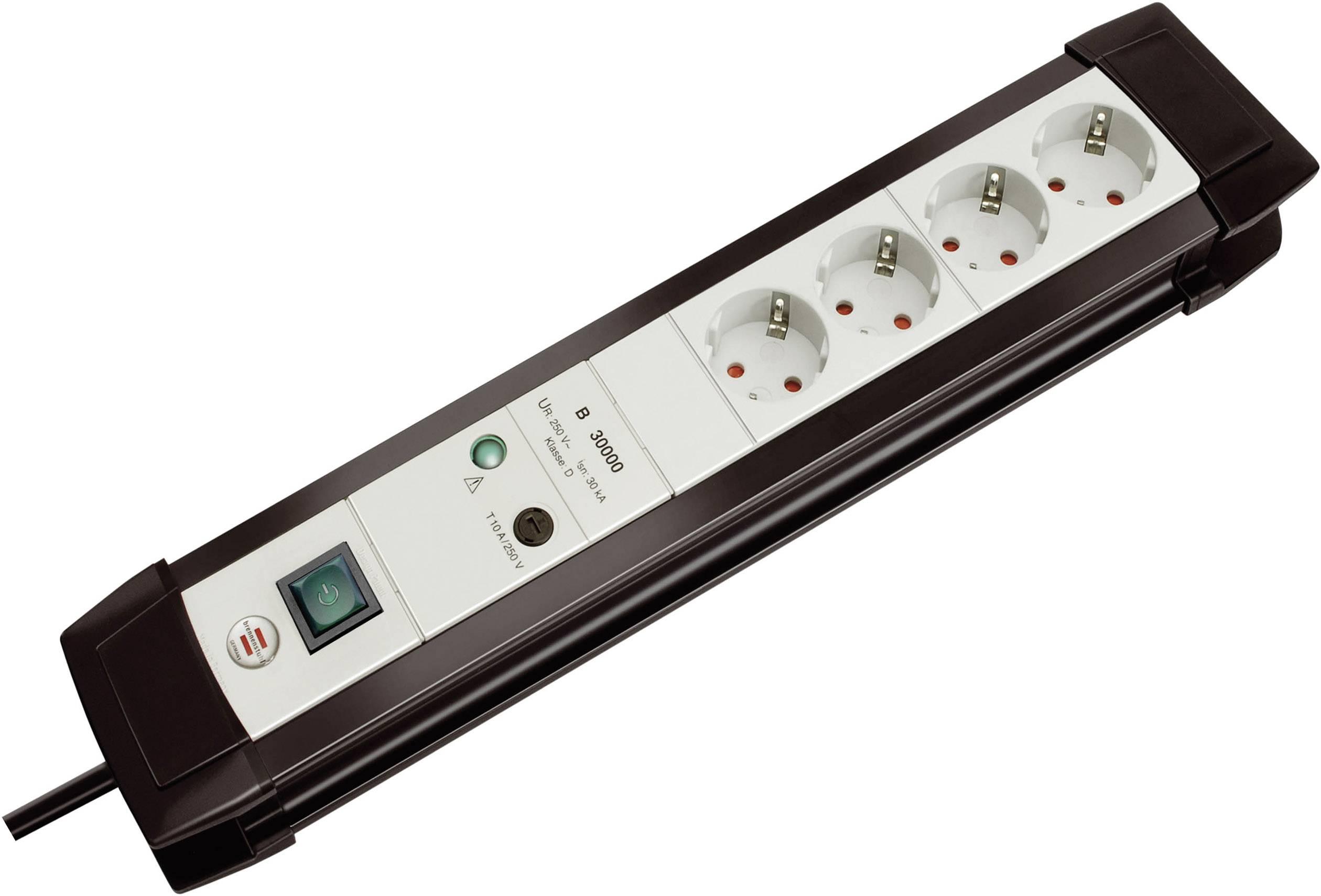 Zásuvková lišta s prepäťovou ochranou, počet zásuviek 4 Brennenstuhl Premium-Line 30.000A 1157050374, 1.80 m, čierna, sivá