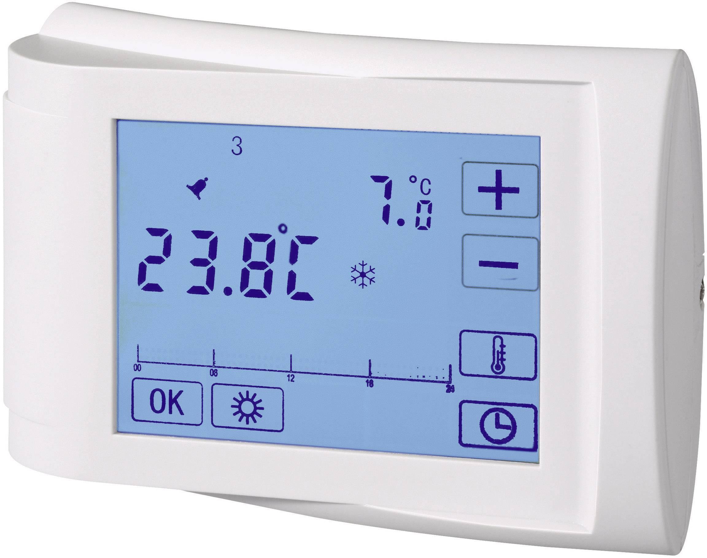 Izbový termostat s týždenným programom s LCD, 5 až 35 °C, biely