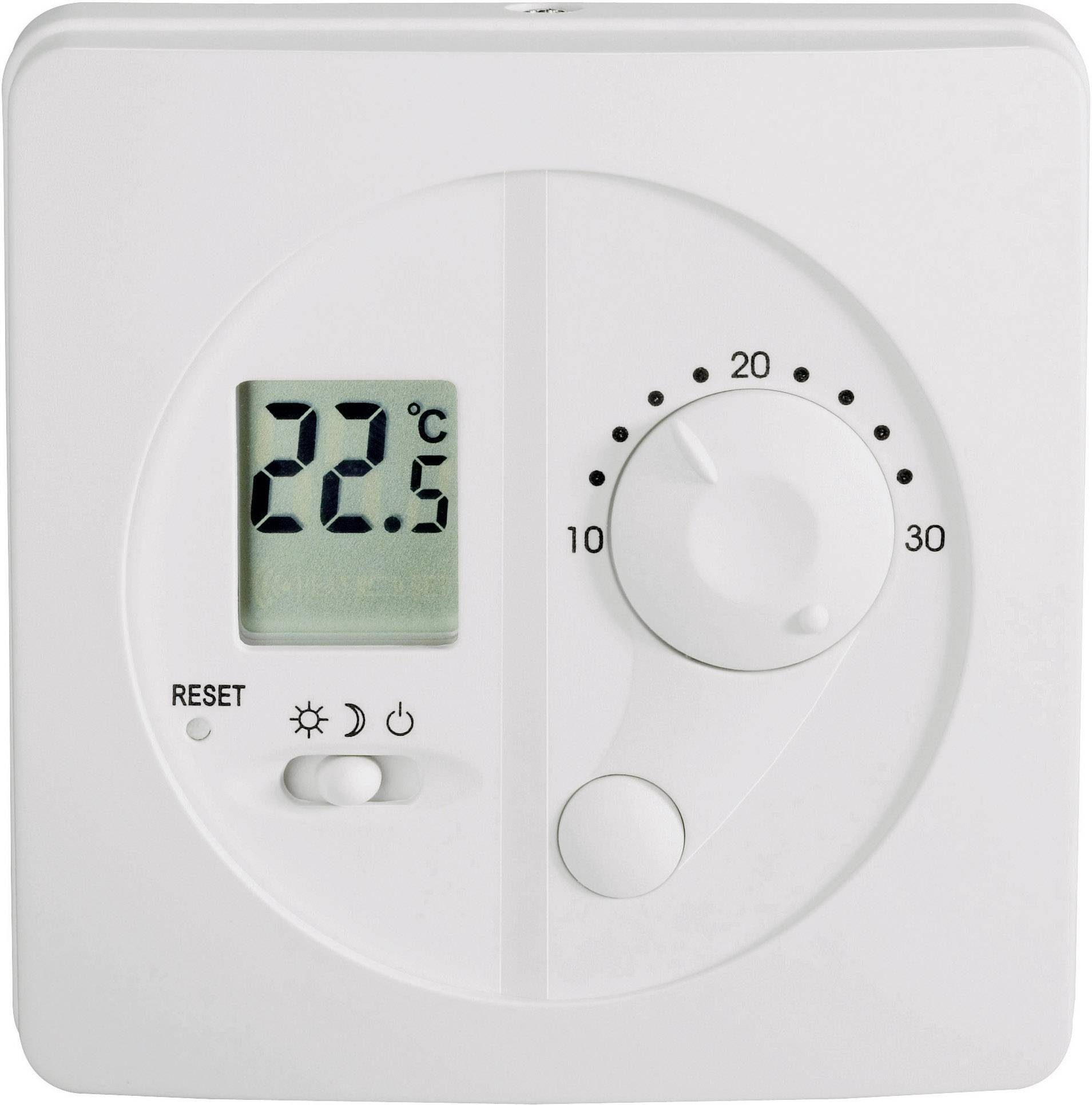 Nástenný izbový termostat s LCD, 10 až 30 °C, biely