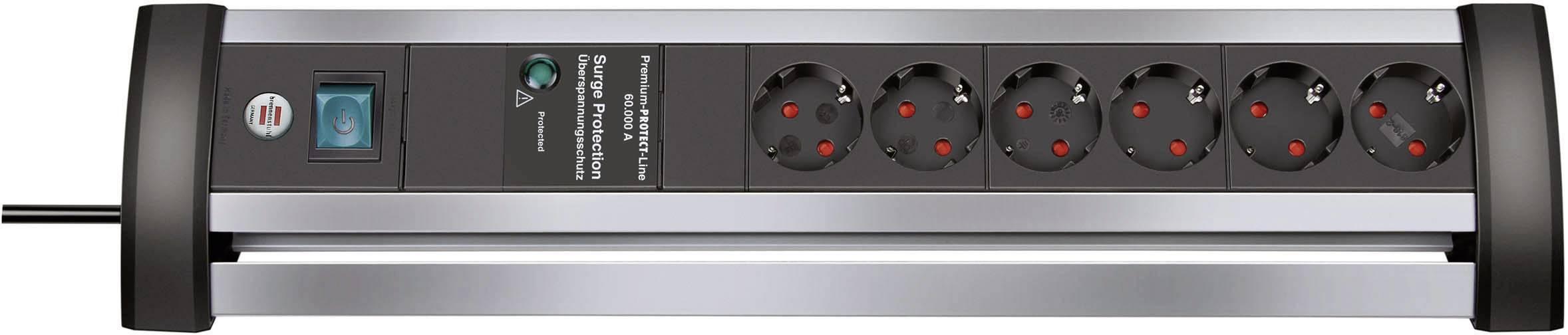 Zásuvková lišta s prepäťovou ochranou, počet zásuviek 6 Brennenstuhl Alu-Office-Line 1395000416, 3.00 m, hliník, čierna