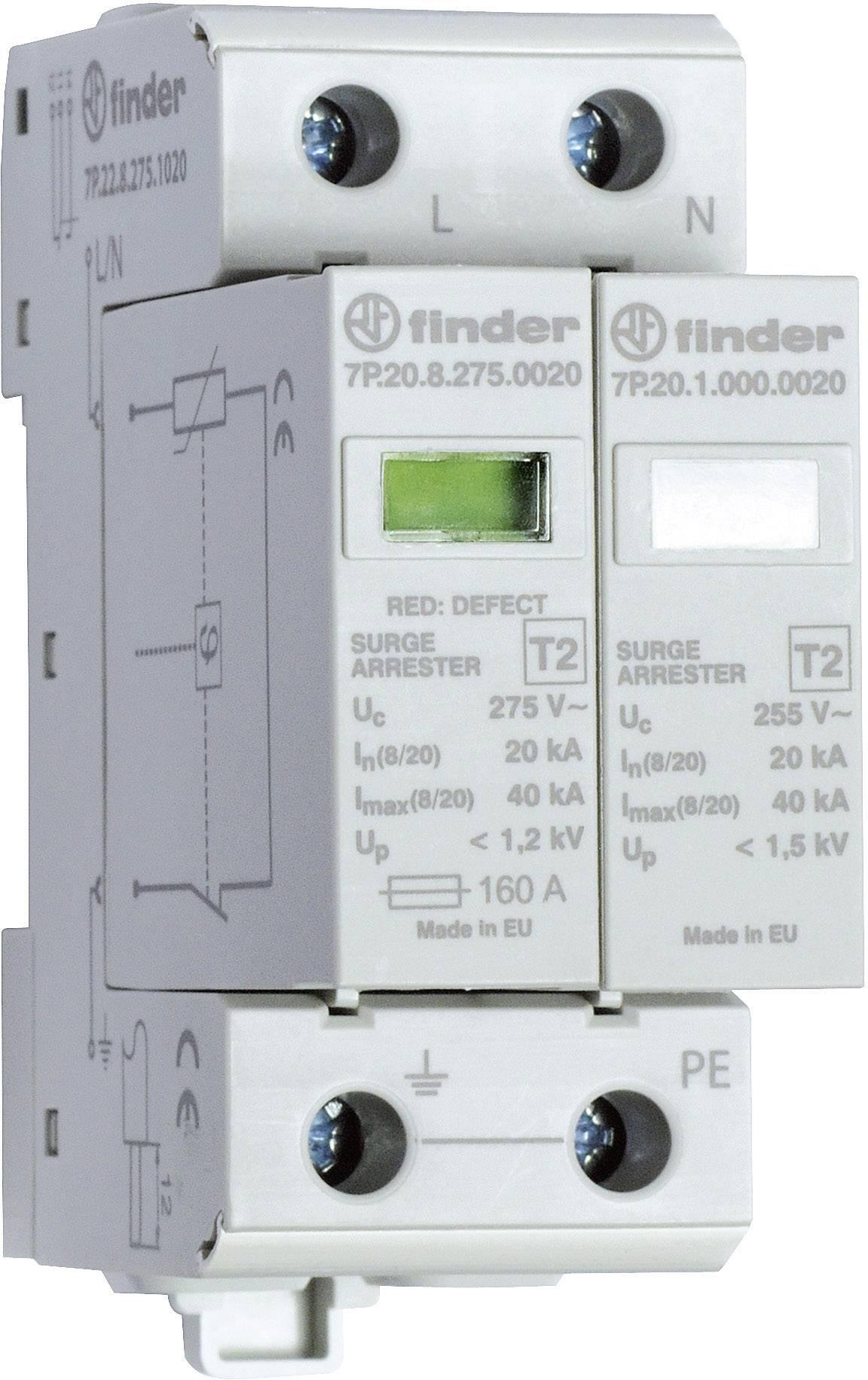 Zvodič pre prepäťovú ochranu Finder 7P.22.8.275.1020 7P.22.8.275.1020, 20 kA