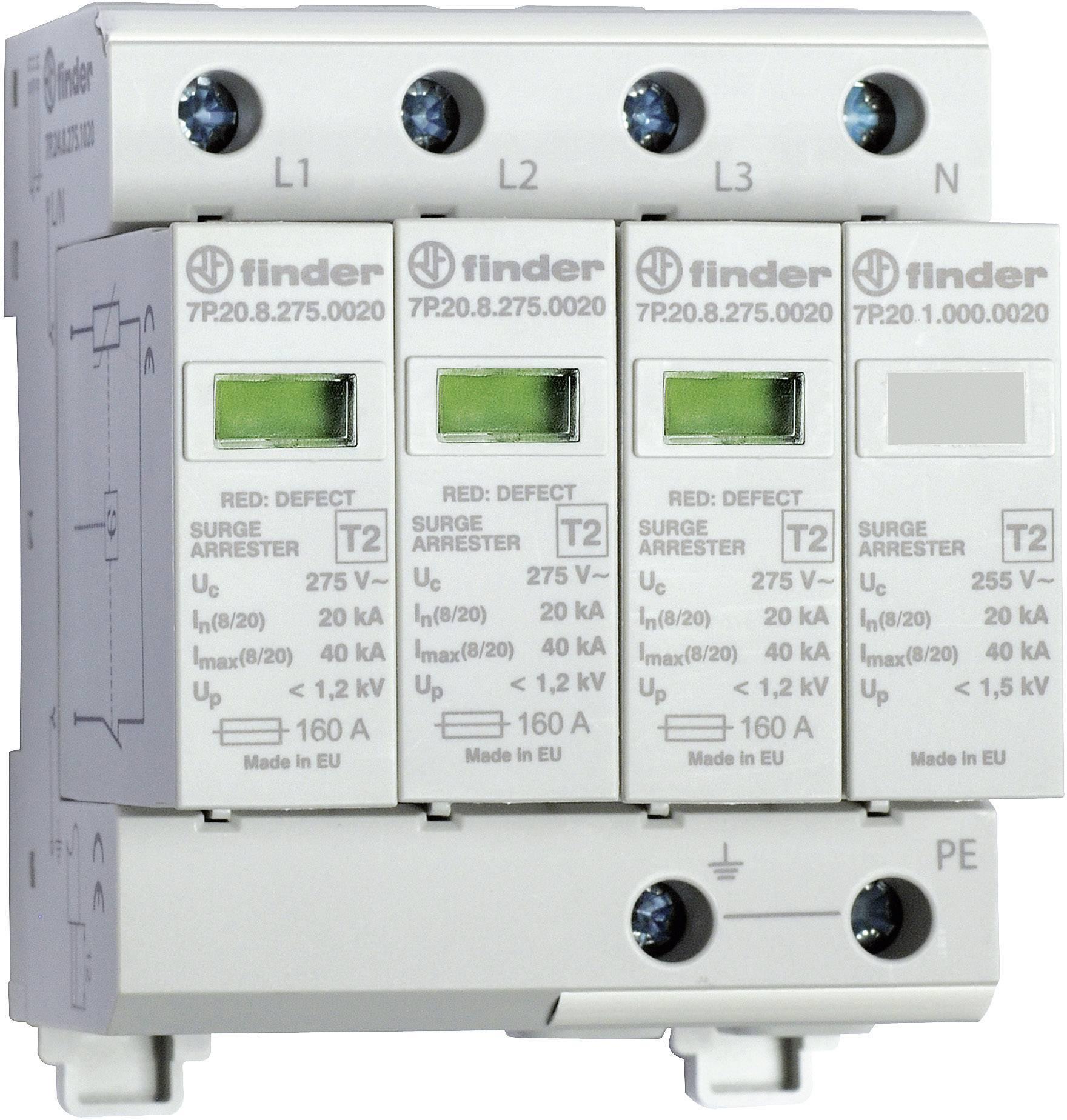 Zvodič pre prepäťovú ochranu Finder 7P.24.8.275.1020 7P.24.8.275.1020, 20 kA