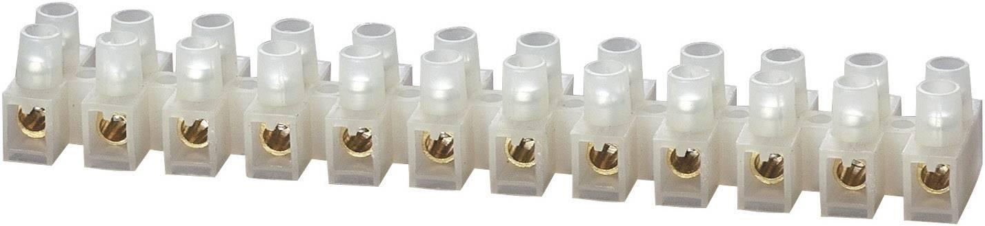 Svietidlové svorky TRU COMPONENTS na kábel s rozmerom 2.5-6 mm², pólů 12, biela, 1 ks