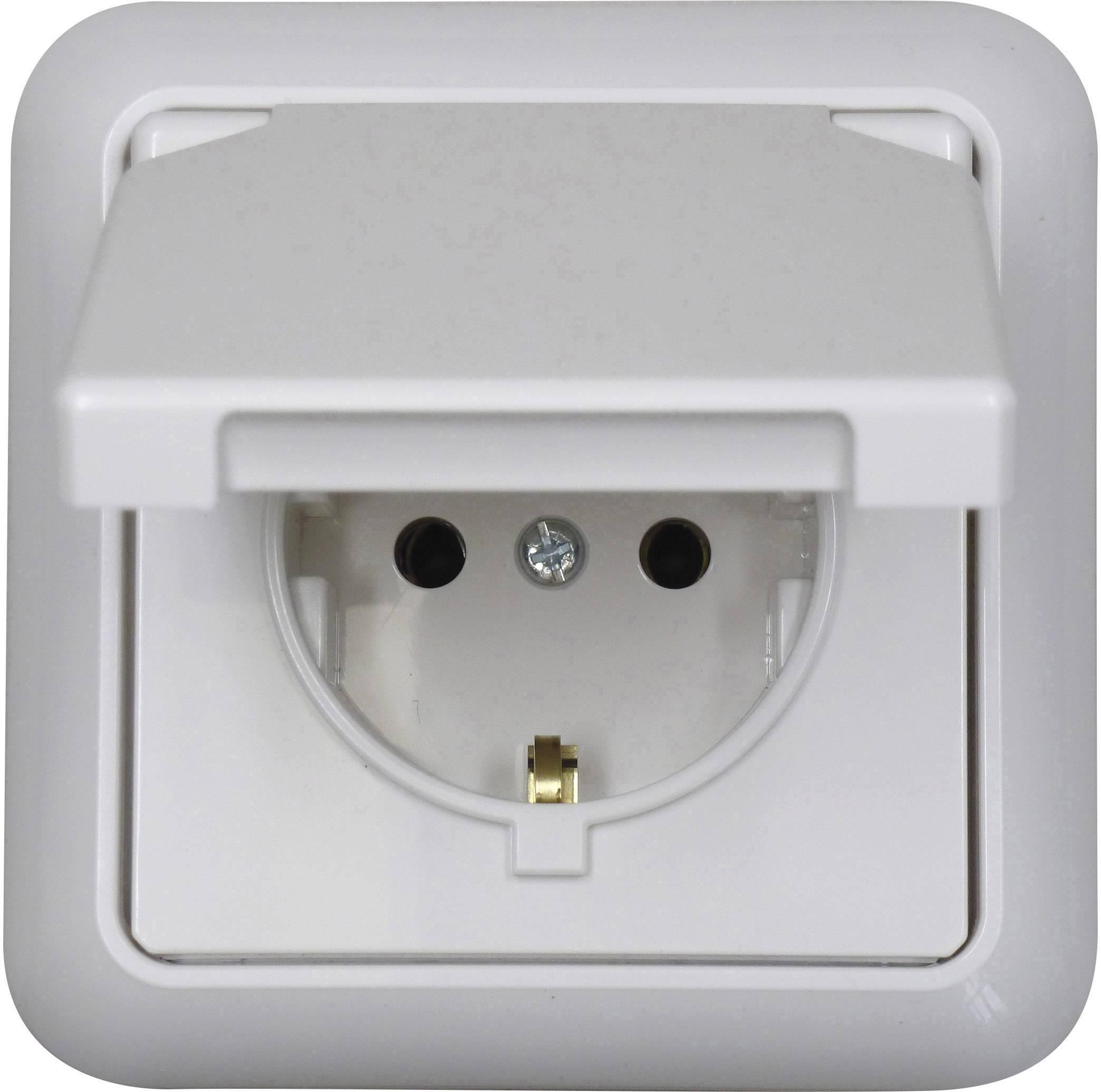 Vodotesná zásuvka pod omietku, 230 V/AC, 10/16 A, IP44, biela