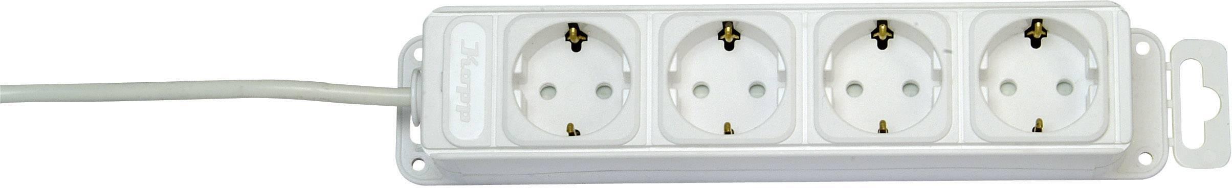 Zásuvková lišta Kopp, 4 zásuvky, biela