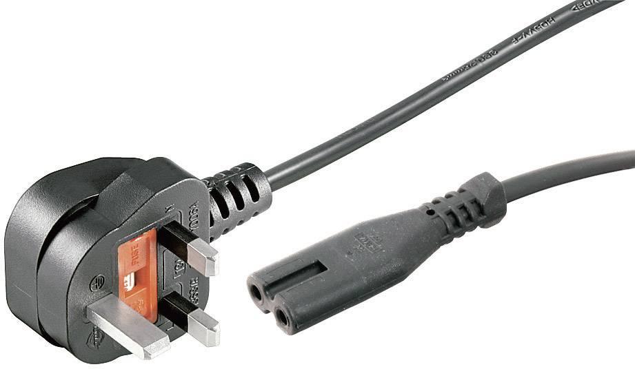 Síťový kabel Goobay, 81323, zástrčka (Anglie) ⇔ zásuvka C7, 1,8 m, černá