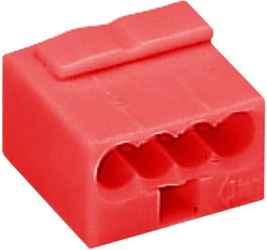 Krabicová svorka WAGO na kábel s rozmerom 0.6- , pólů 4, 1 ks, červená