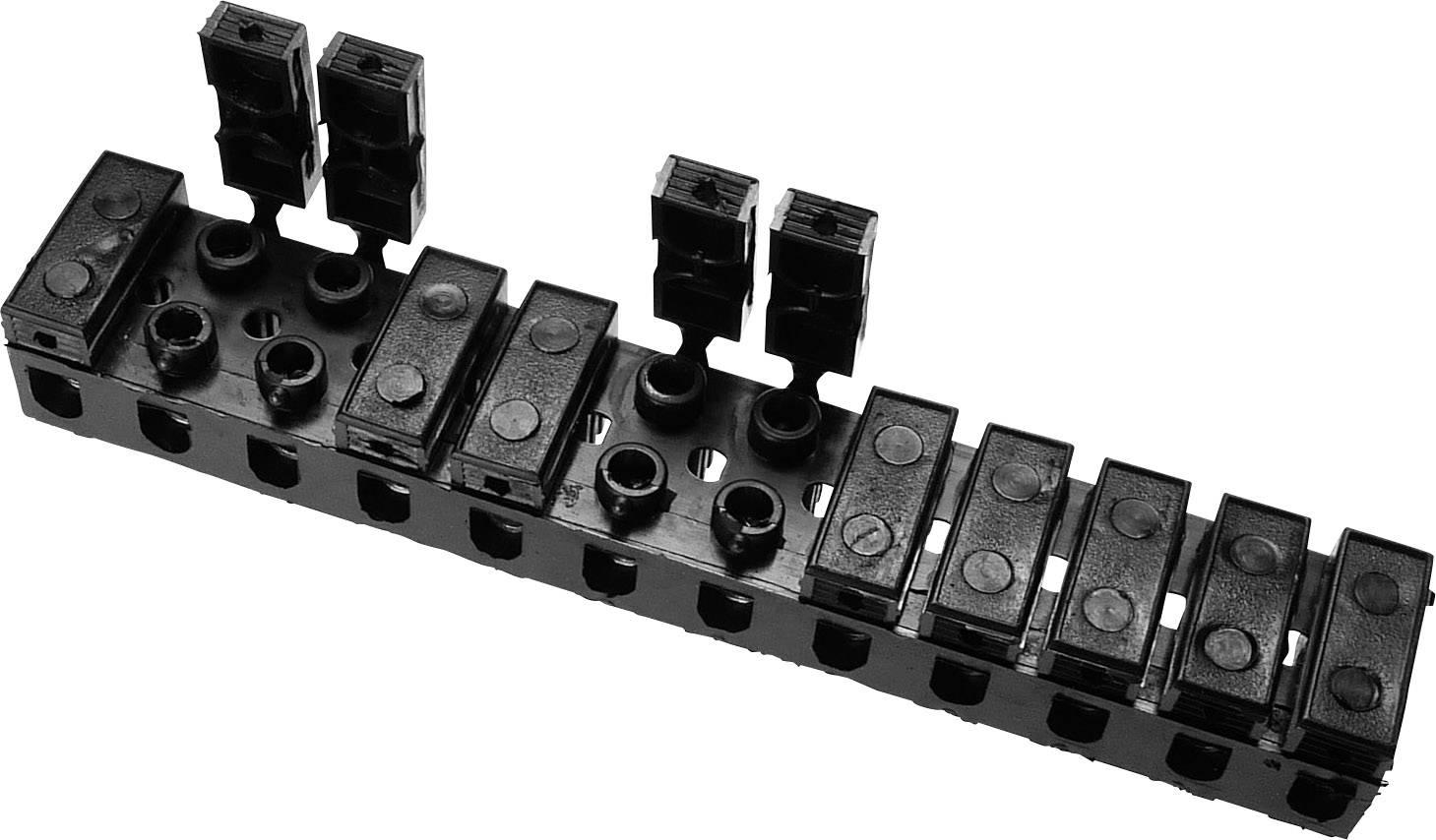 Svietidlové svorky na kábel s rozmerom -6 mm², pólů 12, 1 ks, čierna