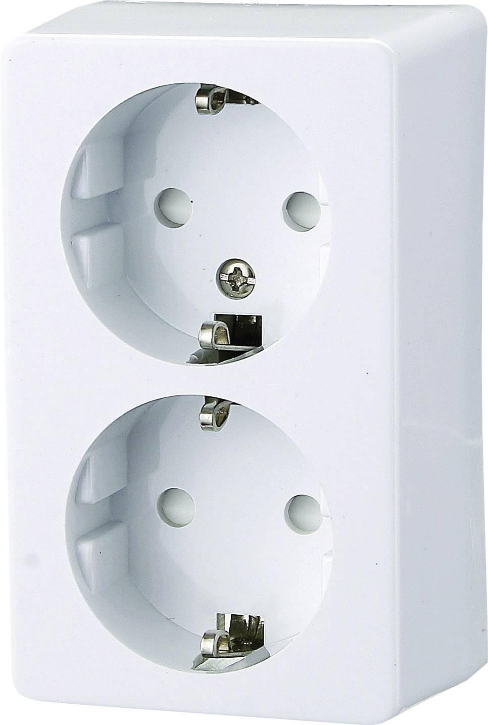 Zásuvka na omietku GAO Prolux 0305, 2-násobný, polárna biela