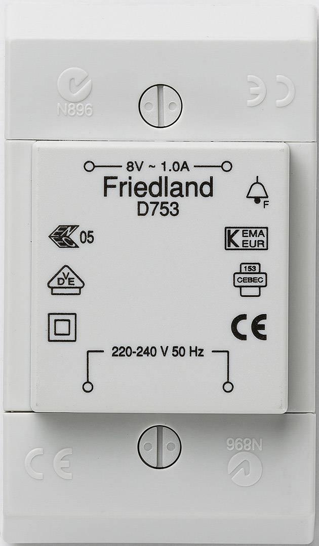 Zvonkový transformátor na omítku Friedland D753, 8 V/AC , bílá
