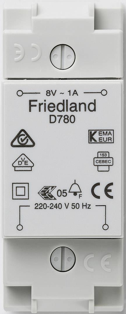 Zvonkový transformátor na lištu Friedland D780, 8 V/AC,bílá