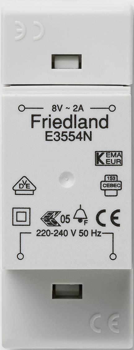 Zvonkový transformátor na lištu Friedland E3554N, 8 V/AC, bílá