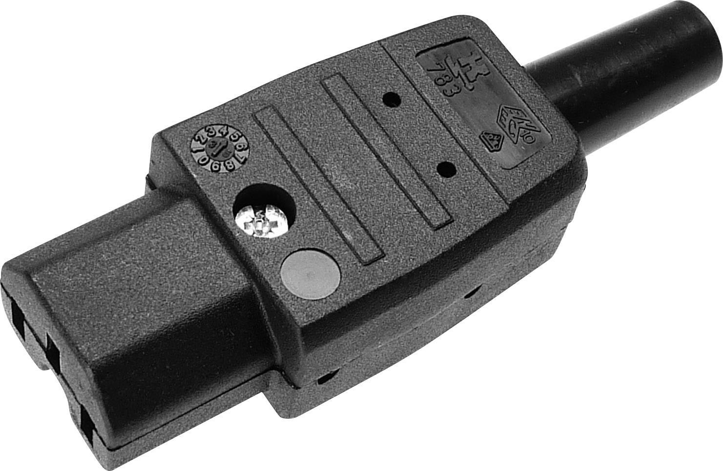 IEC konektor C15/C16 Kaiser 783/sw;C15, zásuvka, rovná, počet kontaktov: 2 + PE, 10 A, 250 V, čierna, 1 ks