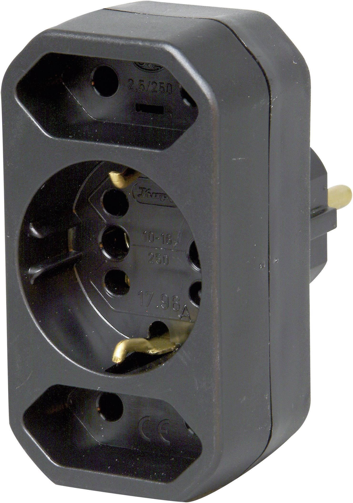Zásuvkový adaptér Kopp DUOversal, 3 zásuvky, černá, 179605004