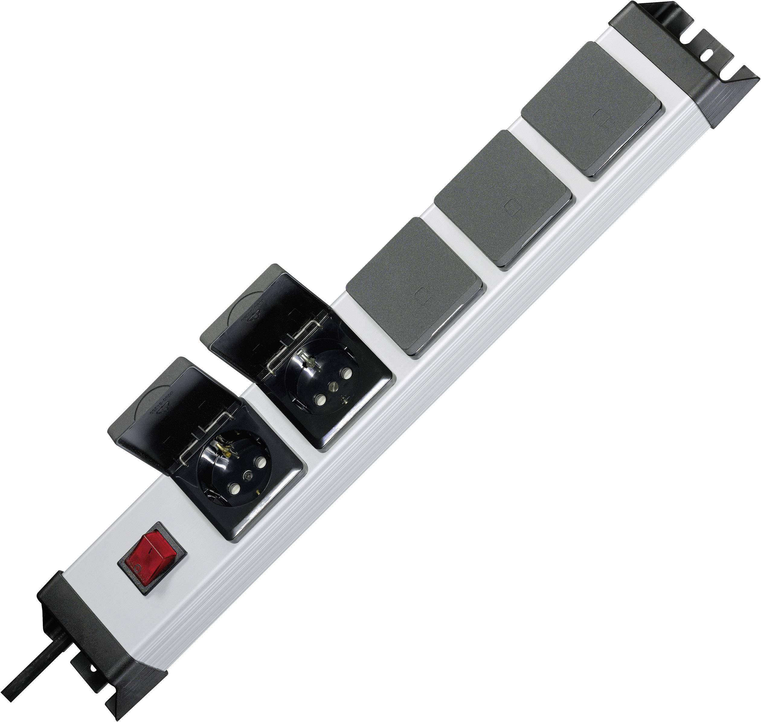 Zásuvková lišta Kopp so spínačom, 5 zásuviek s krytkou, strieborná