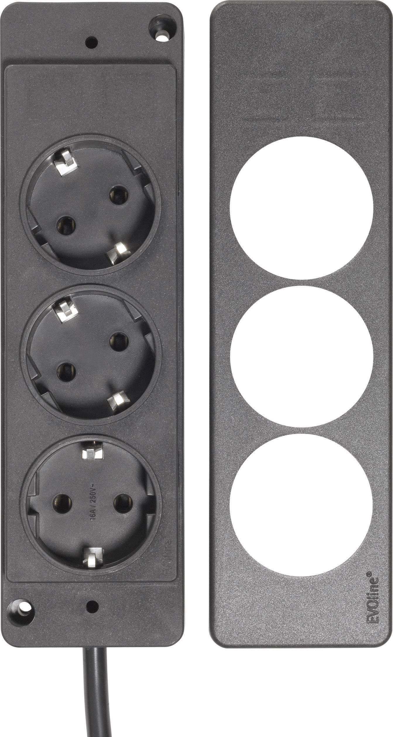 3-násobná zástrčková lišta s ochranným kontaktom a plochou zástrčkou