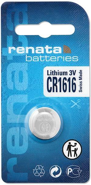 Gombíková batéria CR 1616 lítium Renata, 50 mAh, 3 V