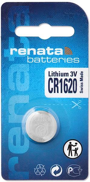 Gombíková batéria CR 1620 lítium Renata, 68 mAh, 3 V