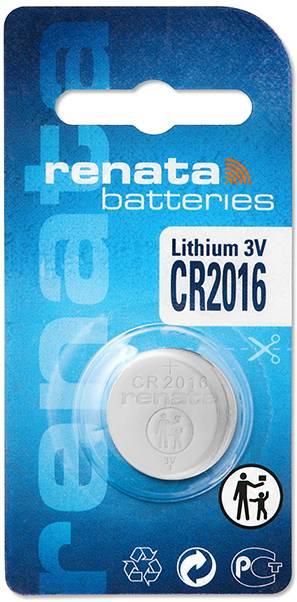 Gombíková batéria CR 2016 lítium Renata, 90 mAh, 3 V
