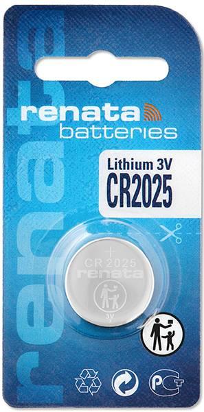 Gombíková batéria CR 2025 lítium Renata, 165 mAh, 3 V