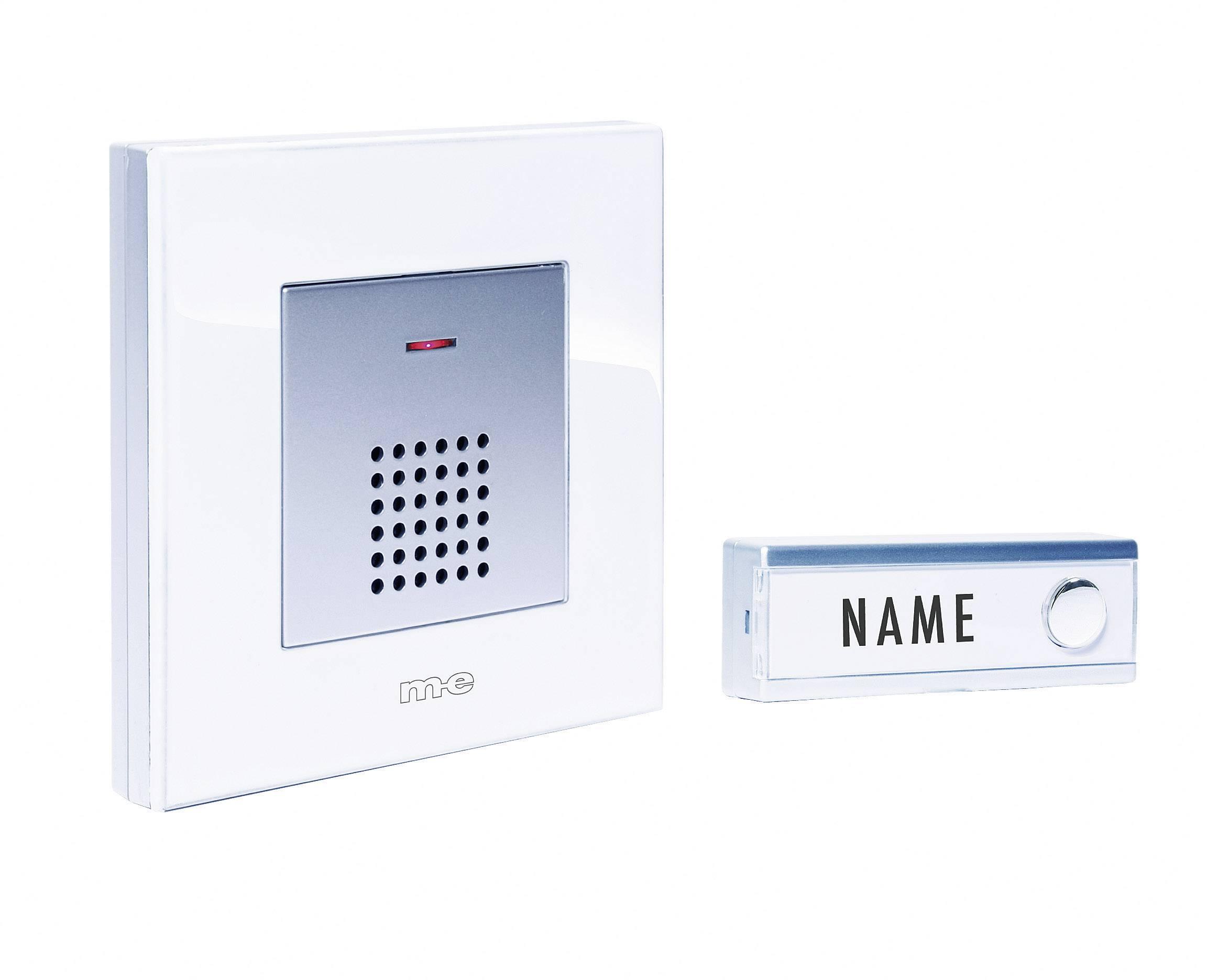 Bezdrôtový zvonček m-e modern-electronics FG5.2 FG5.2, kompletná sada, max. dosah 200 m, biela, strieborná