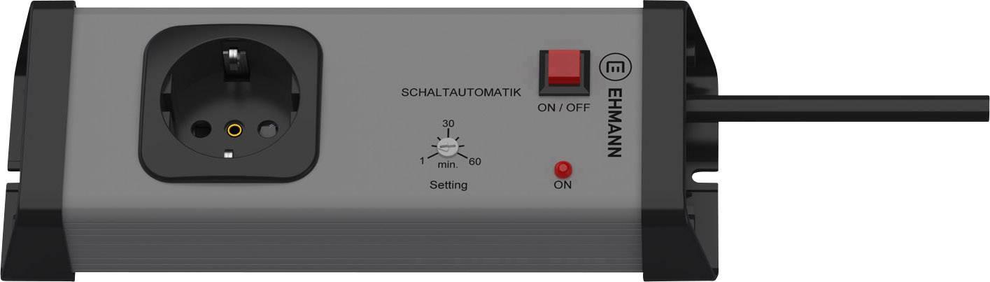 Zásuvková lišta Ehmann s časovým spínačem, 1,5 - 12 h, 1 zásuvka, šedá