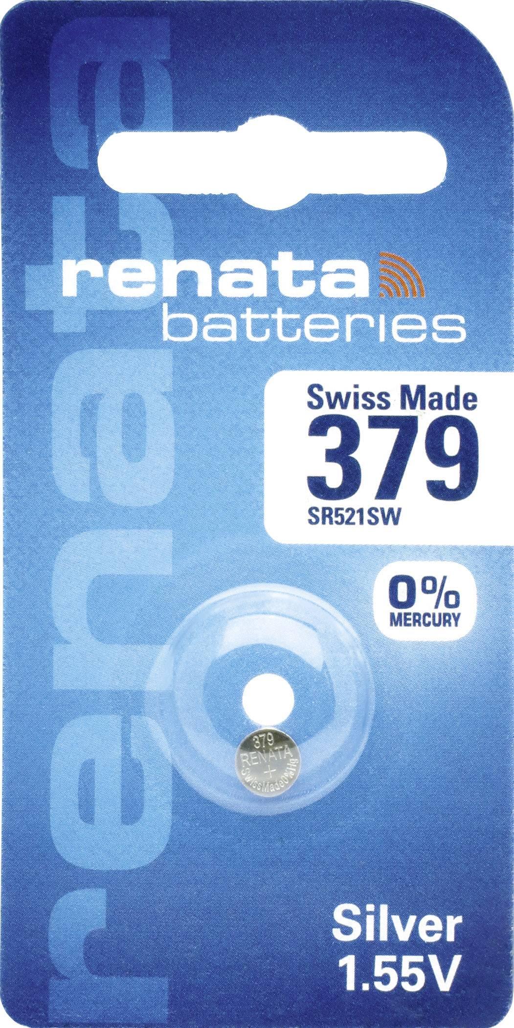Knoflíková baterie 379, Renata SR63, na bázi oxidu stříbra, 379.CU MF