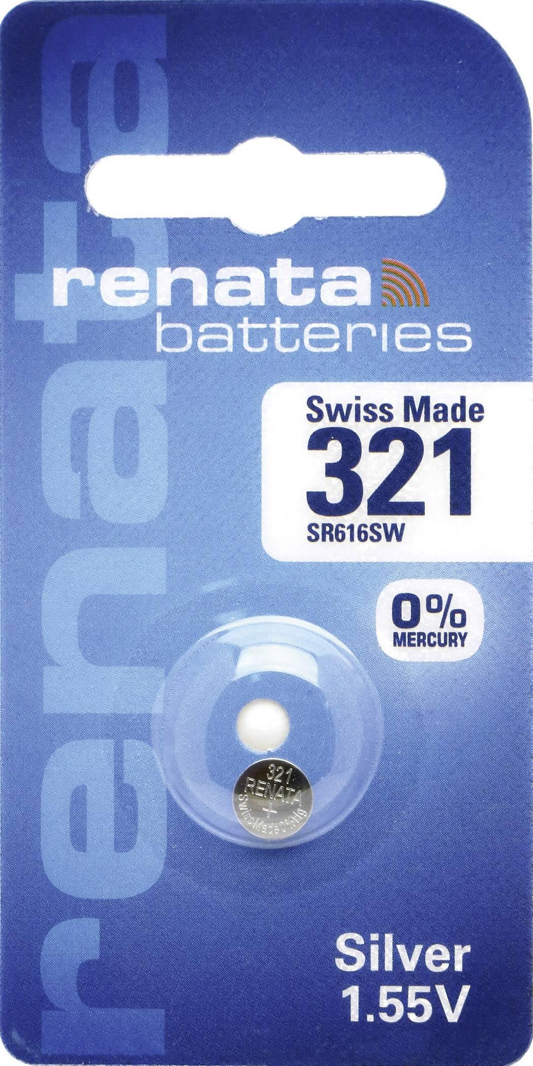 Knoflíková baterie 321, Renata SR65, na bázi oxidu stříbra, 321.CU MF