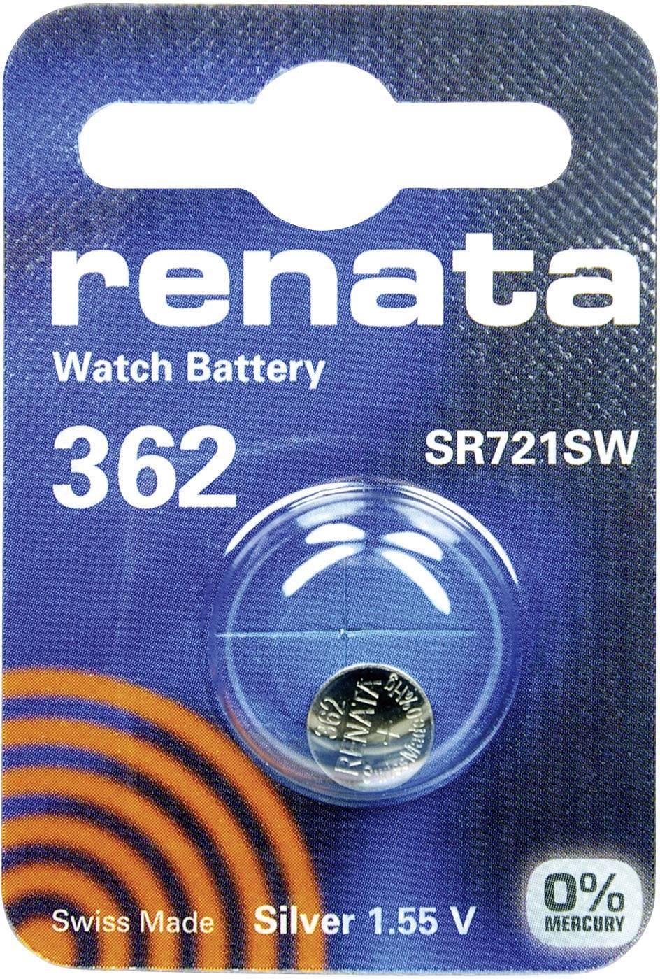 Knoflíková baterie 362, Renata SR58, na bázi oxidu stříbra, 362.CU MF