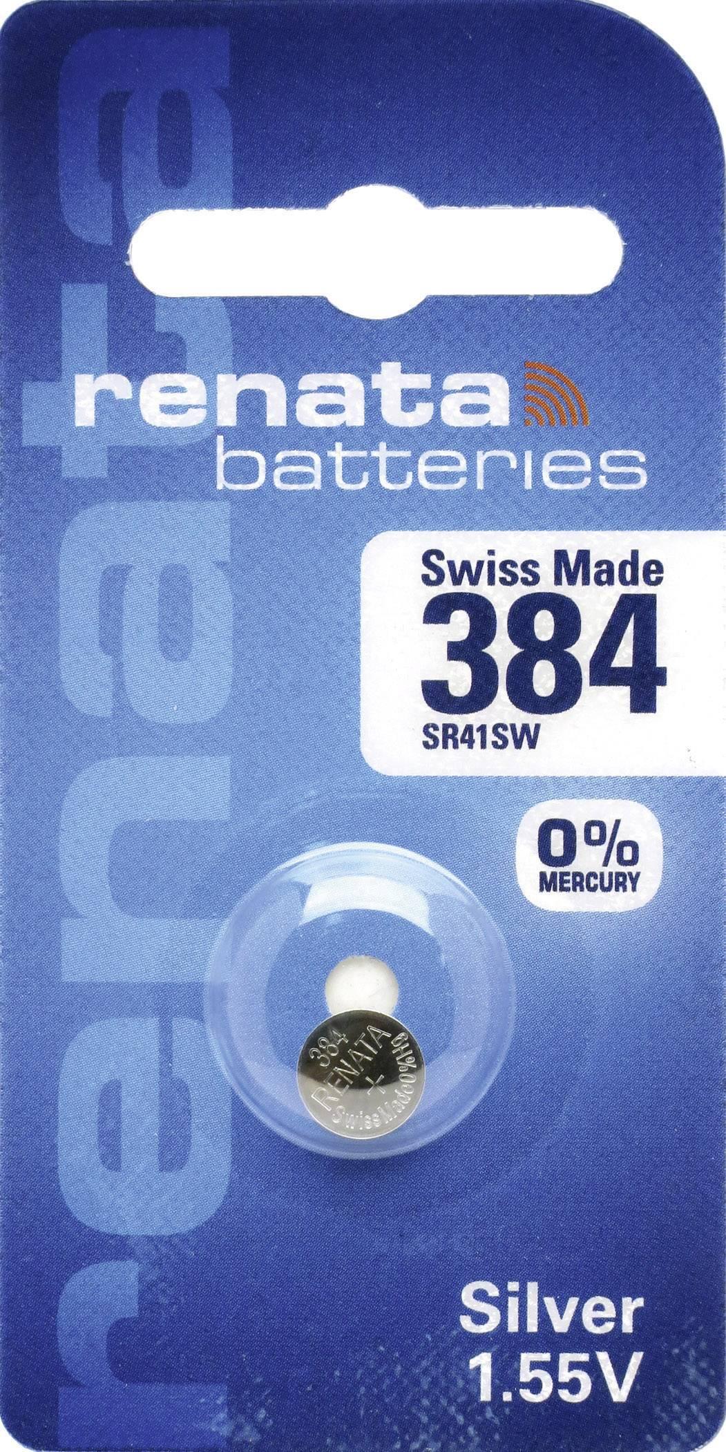 Knoflíková baterie 384, Renata SR41, na bázi oxidu stříbra, 384.CU MF