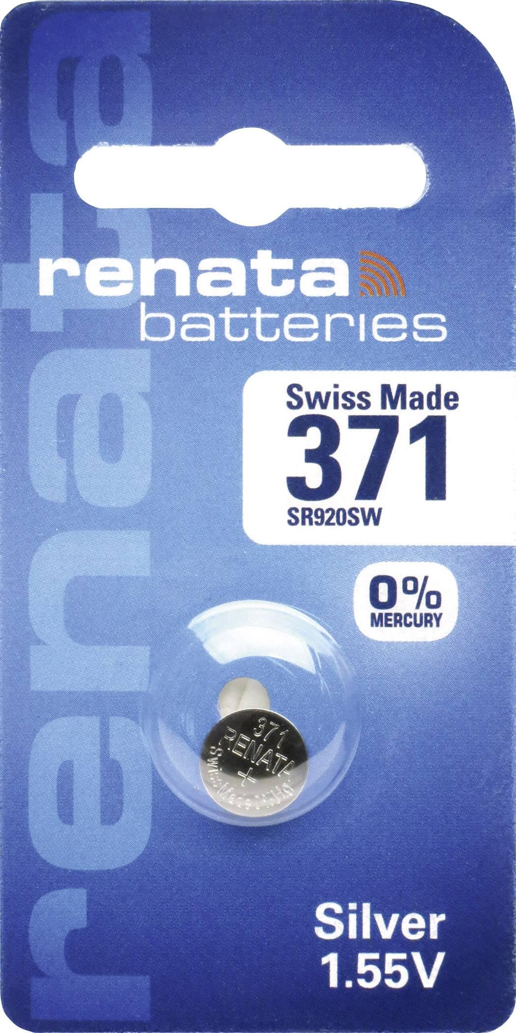 Knoflíková baterie 371, Renata SR68, na bázi oxidu stříbra, 371.CU MF
