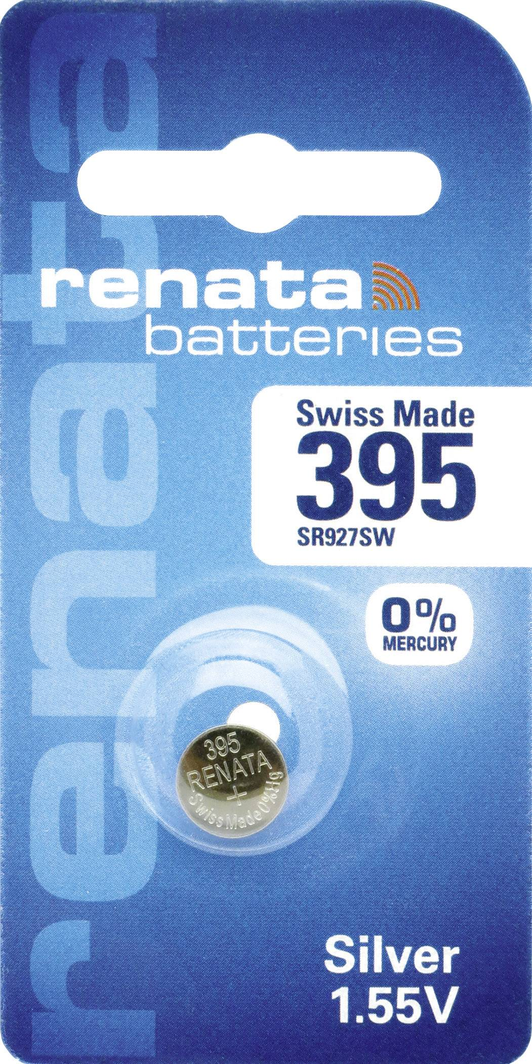 Knoflíková baterie 395, Renata SR57, na bázi oxidu stříbra, 395.CU MF