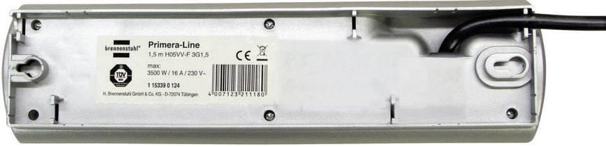 Zásuvková lišta so spínačom Brennenstuhl, 1153390128, 8 zásuviek, strieborná