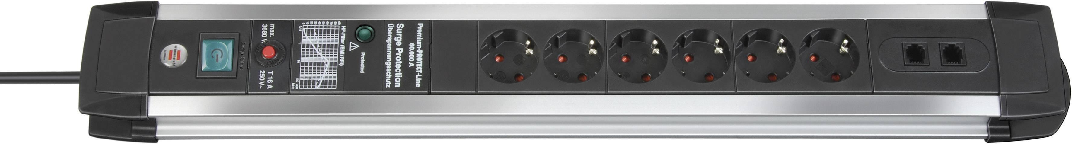 Zásuvková lišta s prepäťovou ochranou Brennenstuhl Premium Protect Line 1391000606, počet zásuviek 6 + 2x ISDN/DSL, 3.00 m, čierna, hliník