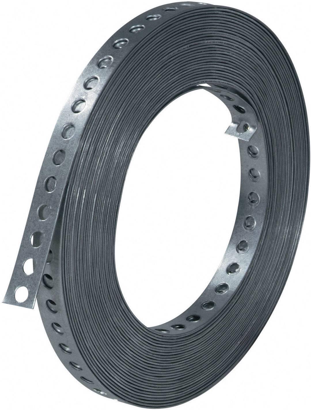 Kovová montážní páska, 12 mm, 10 m, stříbrná