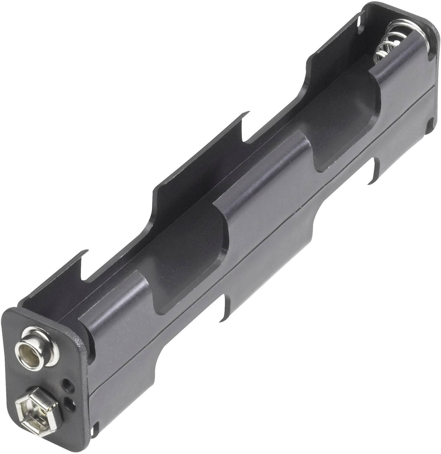 Držák na baterie 4x AA s klip konektorem, 110 x 26 x 16 mm