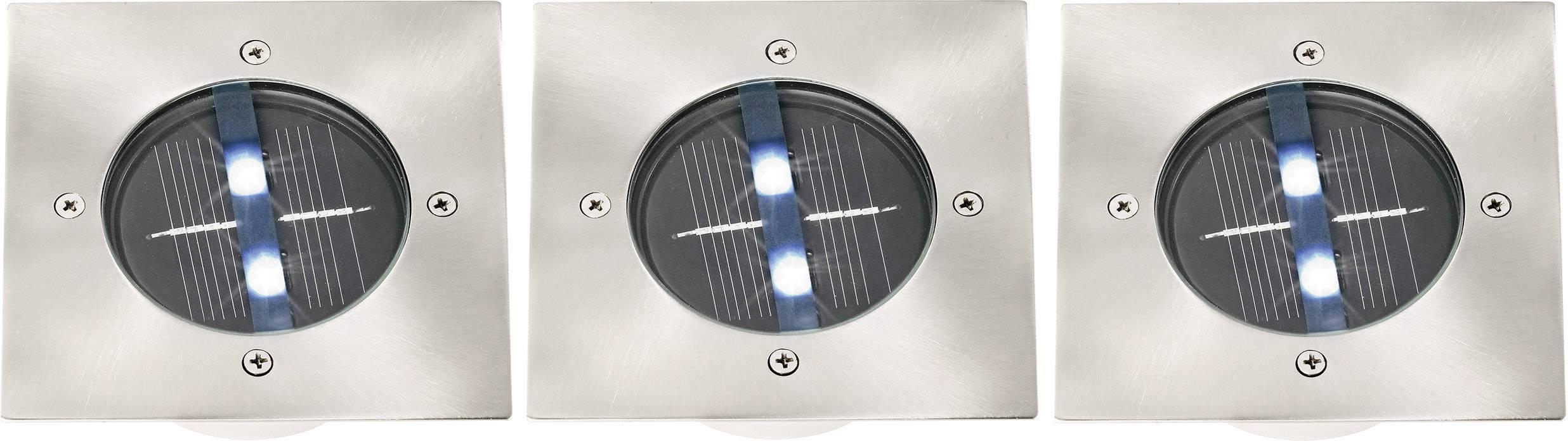 Venkovní solární vestavné svítidlo do podlahy, IP67, sada 3 ks