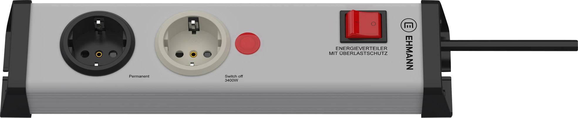 Zásuvková lišta Ehmann so spínačom, 2 zásuvky, 0218x00022301