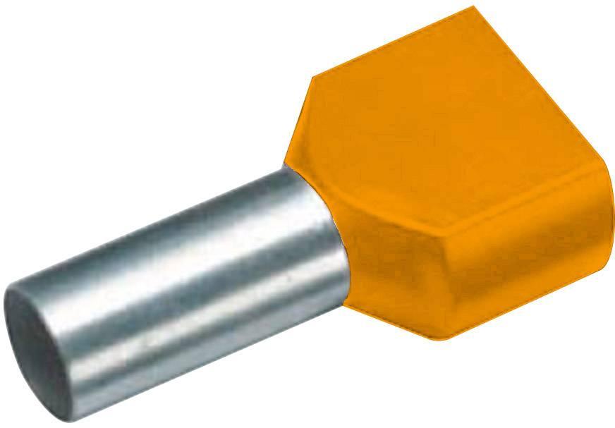 Dvojica dutiniek Vogt Verbindungstechnik 460108D, 0.50 mm², 8 mm, čiastočne izolované, oranžová, 100 ks